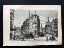 Cassell's Old and New London C1878 Print. Queen Victoria Street